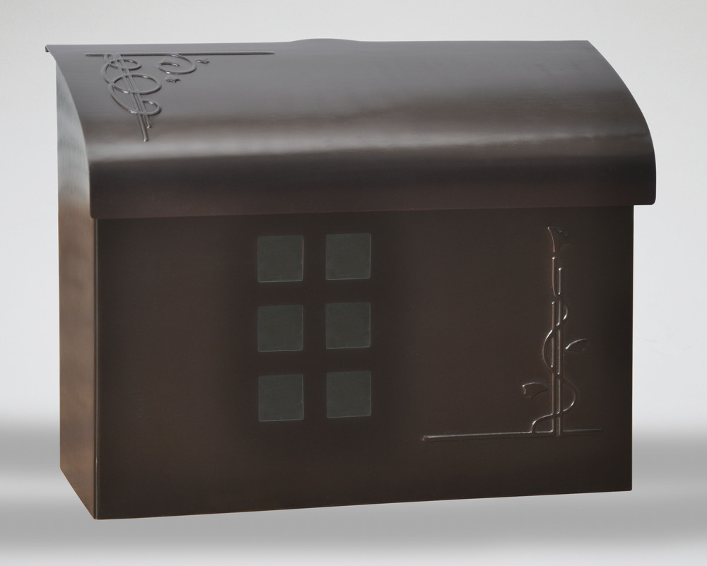 212E7BZ Arts & Crafts wall mount mail box. Size: 14.5 W 11 H 5 D. Hardware included. Shown in bronze. Other finishes available.