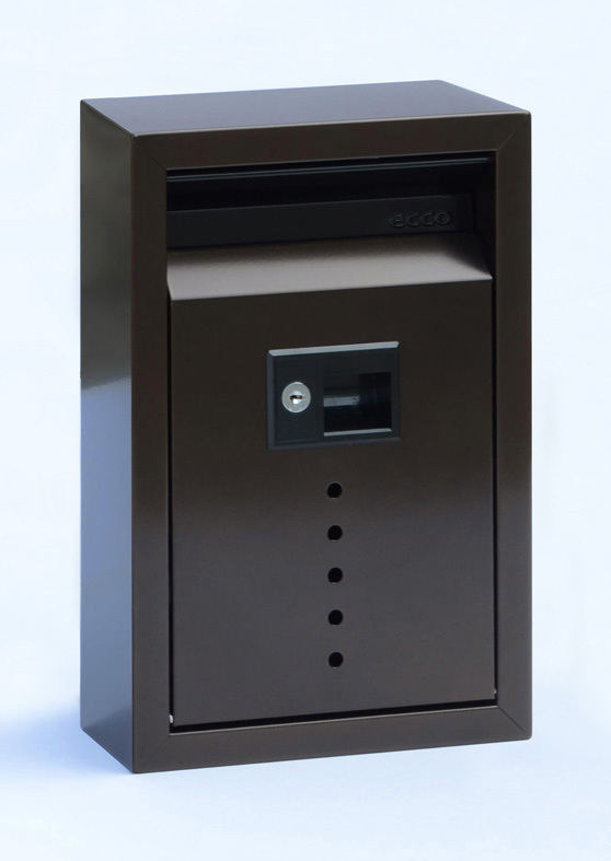 212E9BZ Small Contemporary wall mount mail box.  Size: 8.5 W 13 H 4 D. Slot: 7 W 1.5 H. Hardware and two keys included. Shown in bronze. Other finishes and size available.