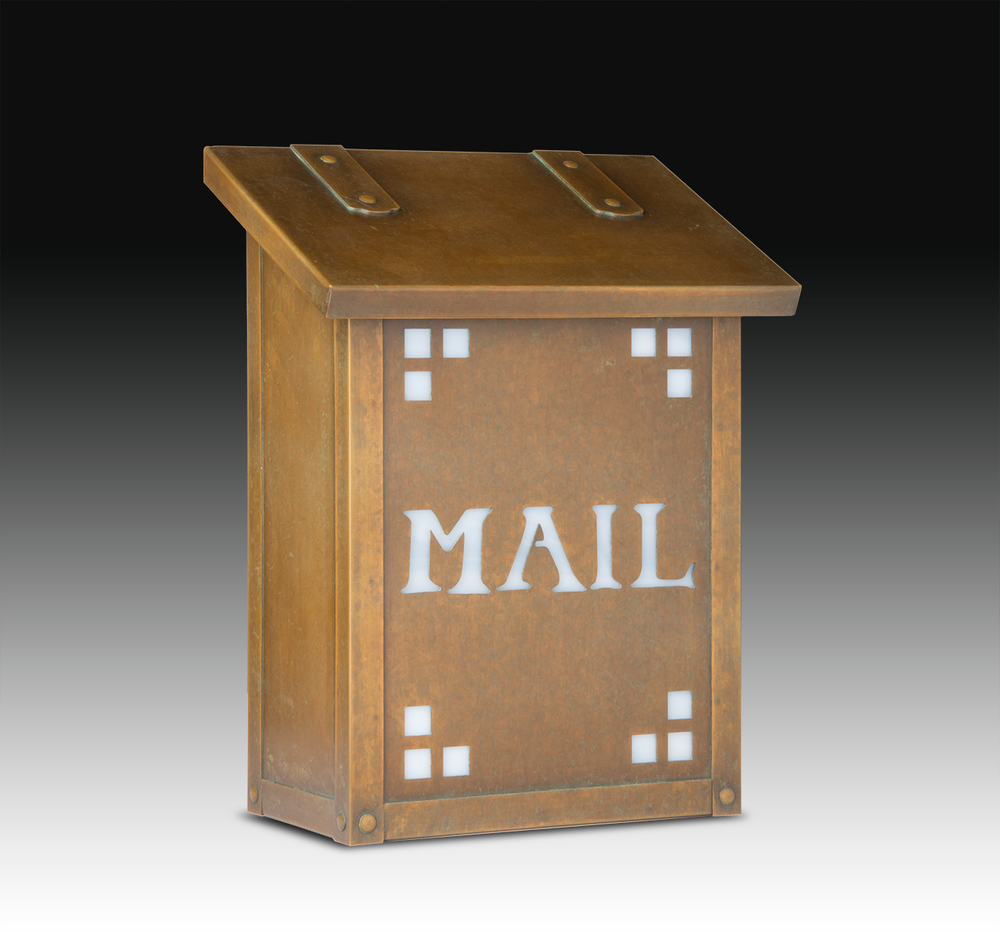 "277AF21-MAIL-WB-WW Pasadena  mail box shown in warm brass with wispy white glass. Size: 12-1/4"" h x 9-3/8"" w x 5-5/8"" d.  Other finishes and glass colors available."