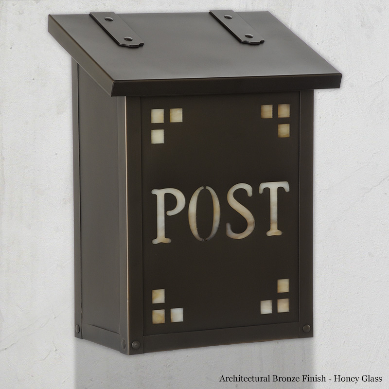 "277AF-21-POST-BZ-HN Pasadena Post vertical mail box.  Size: 12-1/4"" h x 9-3/8"" w x 5-5/8"" d.  Other finishes and glass colors available."