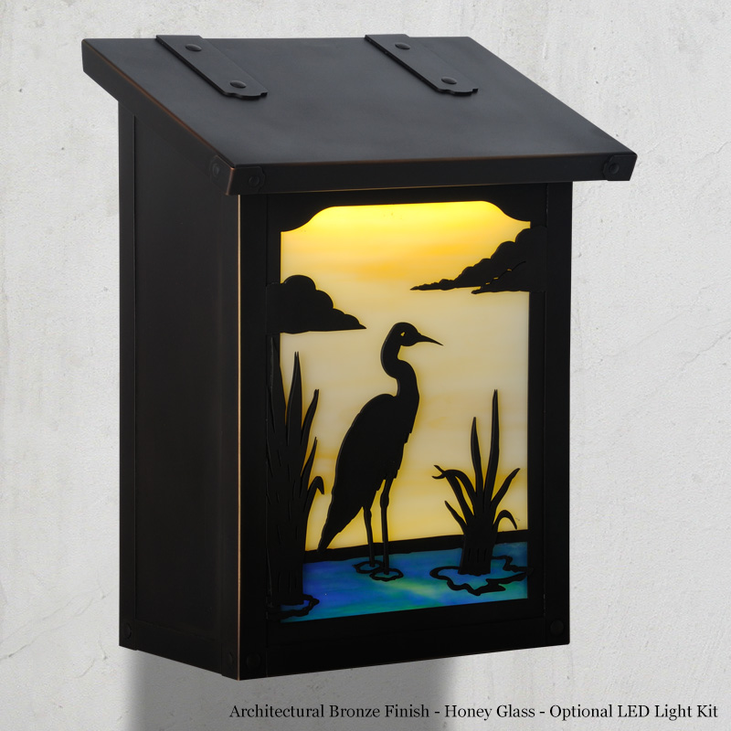 "277AF-601-BZ-HN Blue Heron small mail box.  Size: 12-1/4"" h x 9-3/8"" w x 5-5/8"" d.  Other finishes and glass colors available."