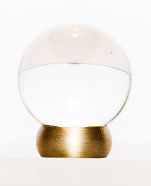 "23566-401 Clear glass ball knob 1-1/8"" Brushed brass base.  Other finishes available."