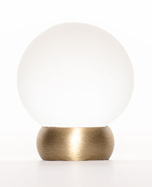 "23565-401 Frosted glass ball knob 1-1/8"" Brushed brass base. Other finishes available."