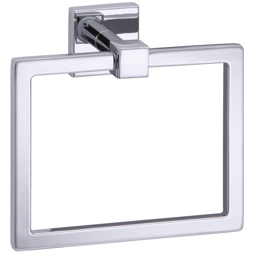 "18104-2304 Qube square towel ring, polished chrome. Measures 6-1/4"" wide x 5-1/16"" tall."