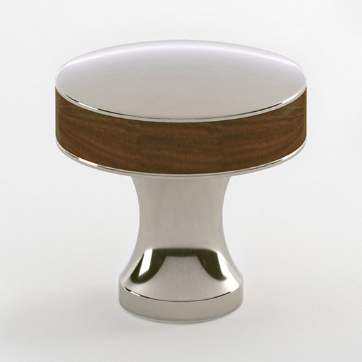 "2598592-PN Manor walnut inlay knob 1-1/2"" pol. nickel. Other sizes and  finishes  available."