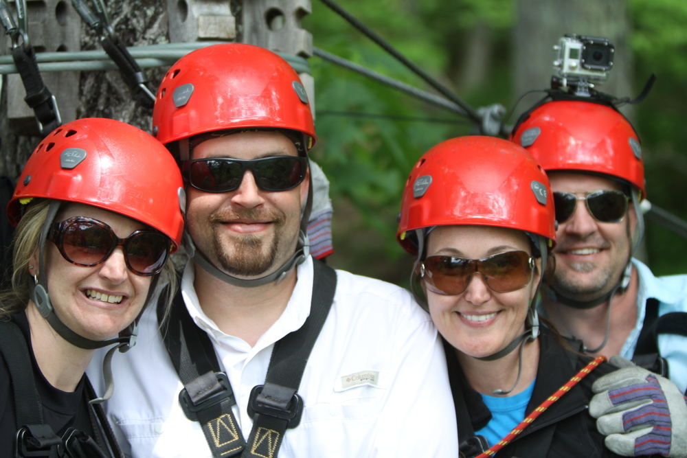 The Crew zip lining at Navitat