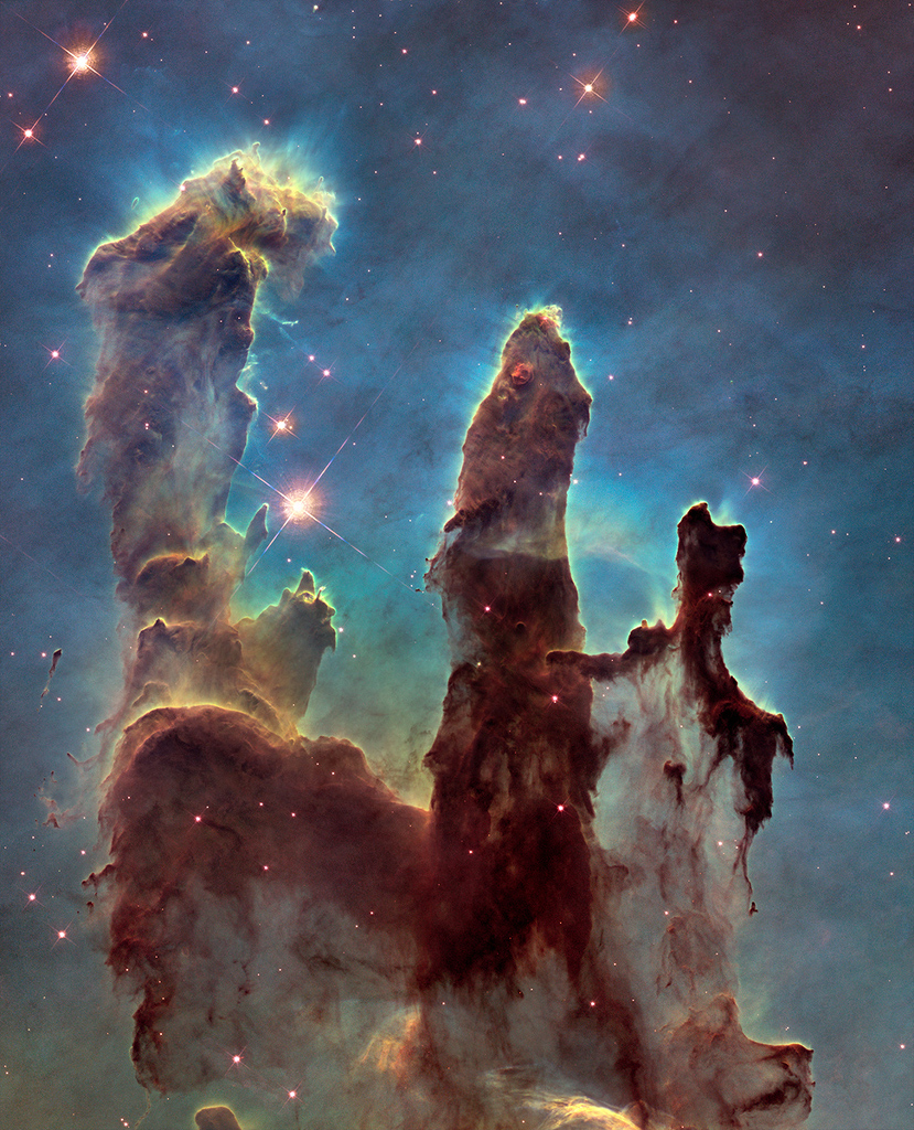 The pillars of creation. photo taken by the hubble telescope. It can be be found  here .