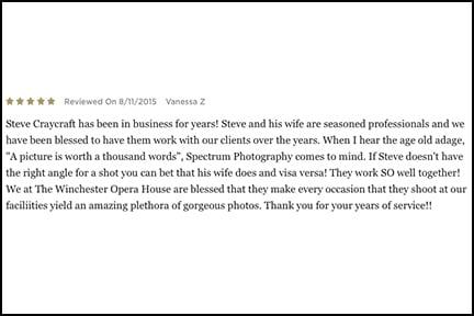 Testimonials — Spectrum Photography and Custom Framing