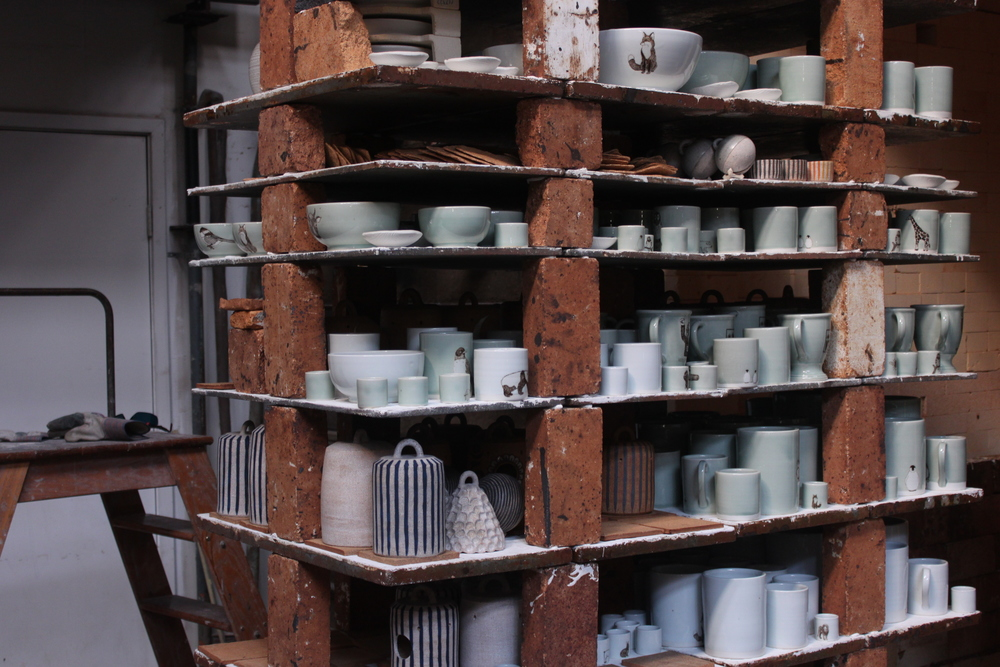 Glazed SKT Ceramics pieces in the large gas kiln