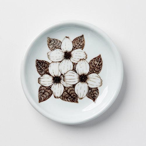 White Dogwood Flower Everything Dish Skt Ceramics