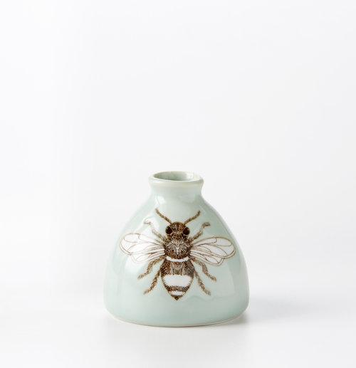 Celadon Bee Bud Vase Skt Ceramics