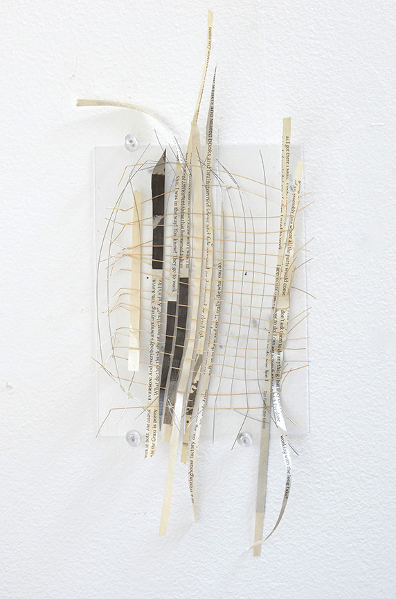 Net , 2014 Newspaper and wire mounted on plastic 12 x 5 inches