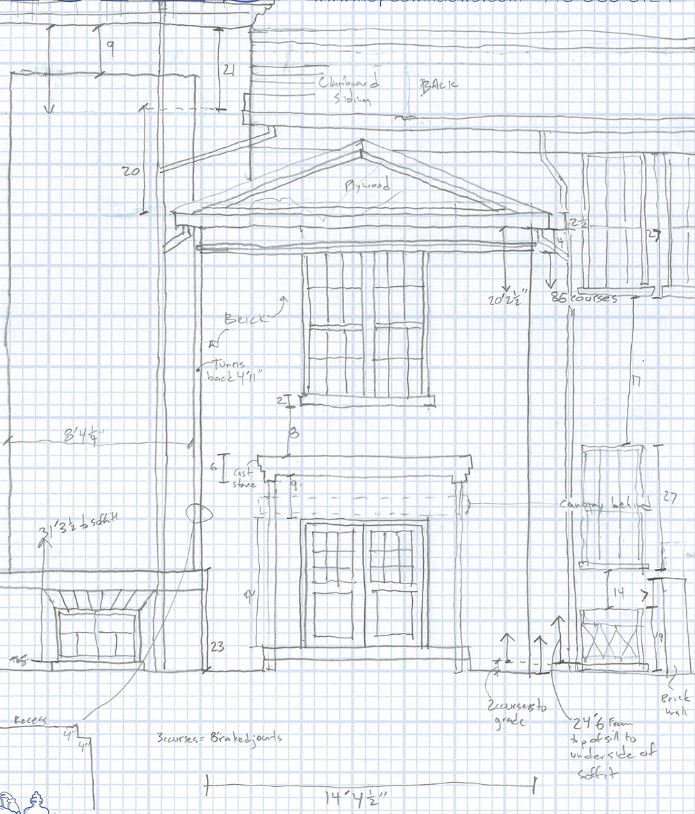 This image is a field drawing of an existing historic building.