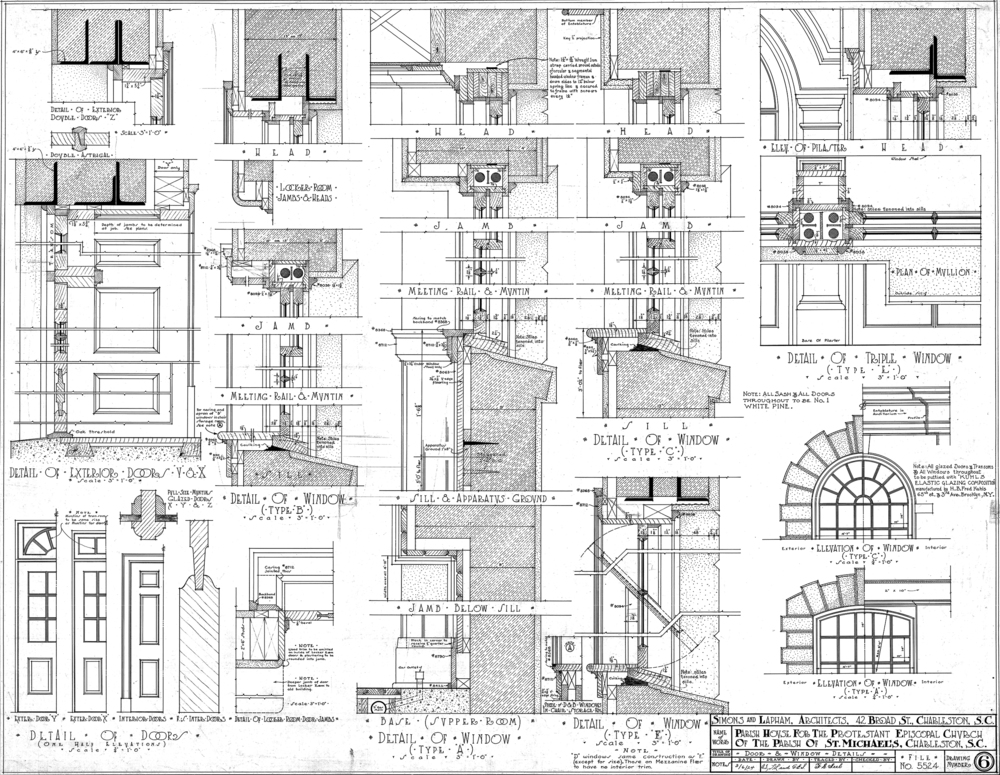 This Is A Circa 1924 Hand Drafted Construction Drawing From The Architectural Firm Of Simons And