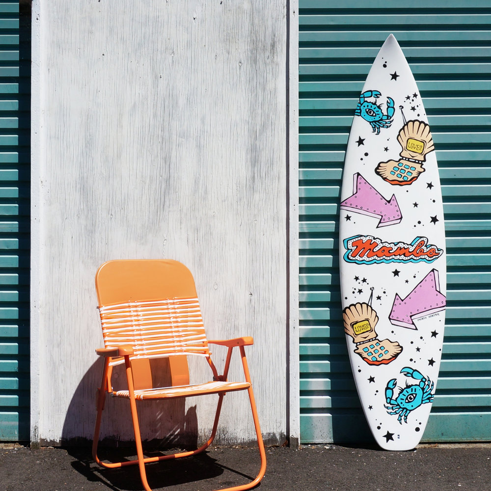 Original art and hand painted surfboard by Lauren Webster for Mambo