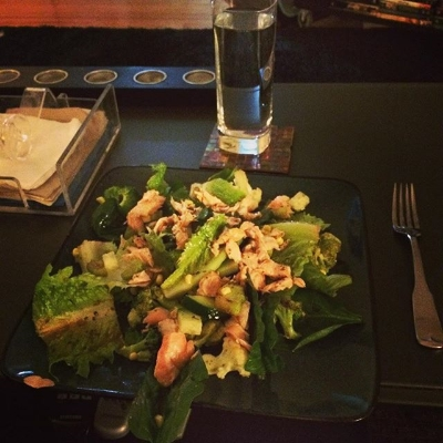 One of my favorite meals that we made; salmon salad with romaine, spinach, corn, sauteed veggies and avocado.  We even made our own dressing!