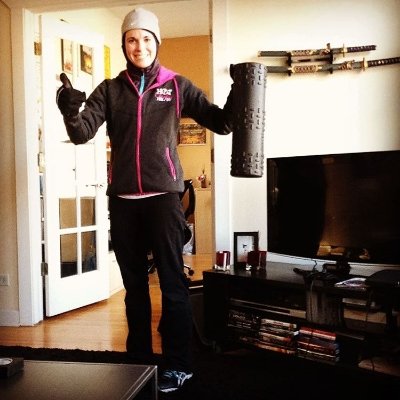 Post Saturday run (yes, it's January in Chicago, I had to wear three of everything) about to foam roll, but the run was COMPLETELY pain free.