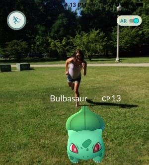 Here I am chasing down a Bulbasaur during our Pokewalk.  I had fun!  I also learned that Dean really wanted a Bulbasaur.