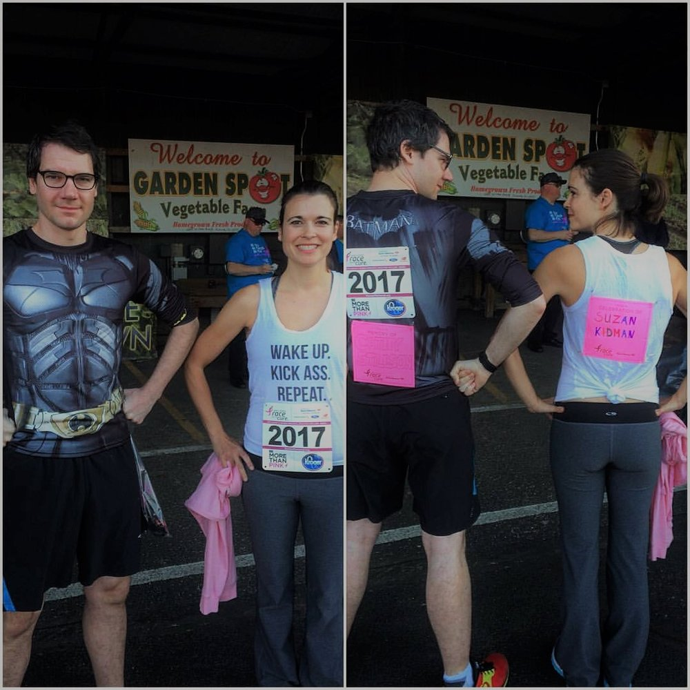 Dean and I did a Race for the Cure in Peoria one year honoring my aunt who survived and Dean's aunt, who did not.