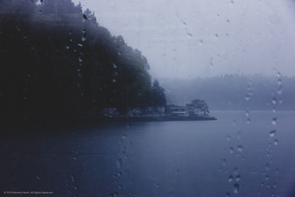 Stylized photo editing and double exposure to get two photos taken from the same angle at different focus points. Vashon Island Ferry Terminal.