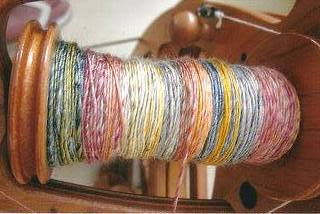 Gotland fibres on the spinning wheel.