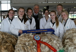 Tintern Young Farmers with their Champion Romney Fleece and Champion British Long Wool Fleece. Royal Melbourne 2013