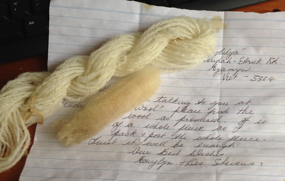 Lovely staple from Hallylulya sheep and a note from Marylyn Stevens.