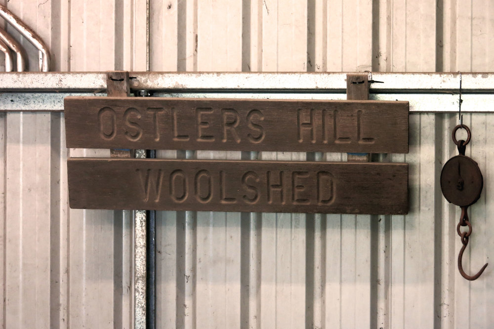 The Ostlers Hill sign from Ethel Stephenson's Woolshed