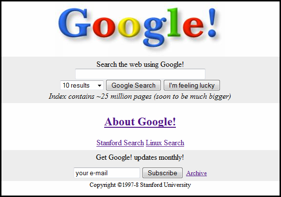 The original Google homepage.
