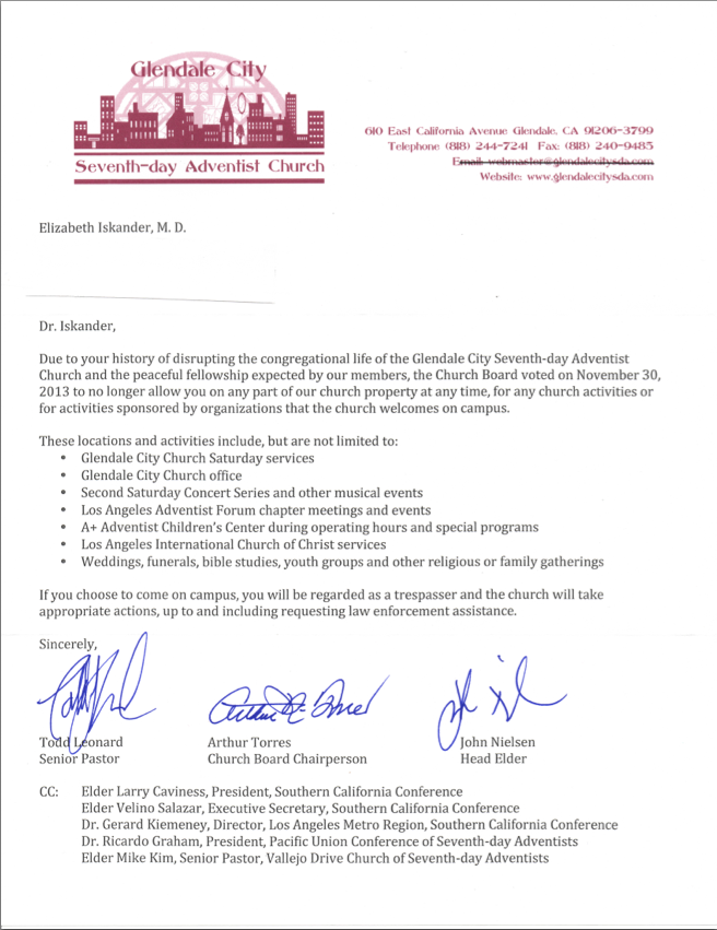 Glendale City Church letter to Elizabeth Iskander, M.D. (Click image to enlarge and read)