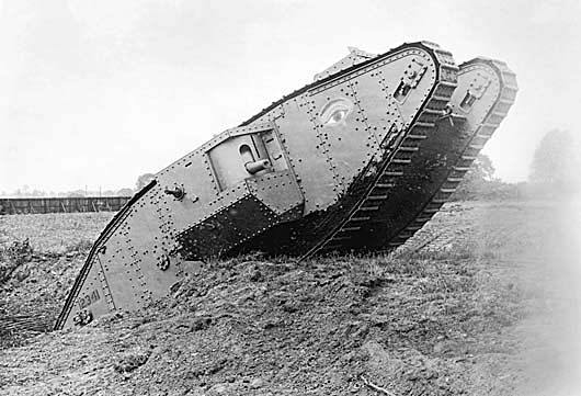 An early tank, a new weapon of the Great War