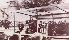 Ellen White stands at the dedication of Loma Linda Sanitarium April 15, 1906.