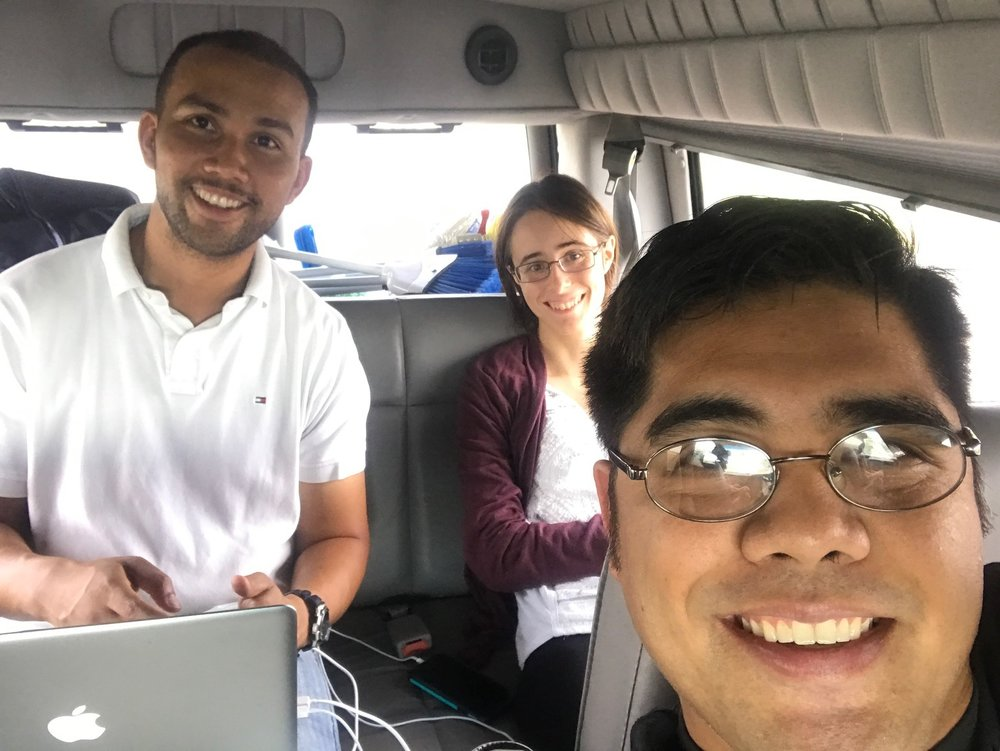 The author, along with Chris and Hannah Chung (L to R) traveling from Fort Worth to Houston, Texas.