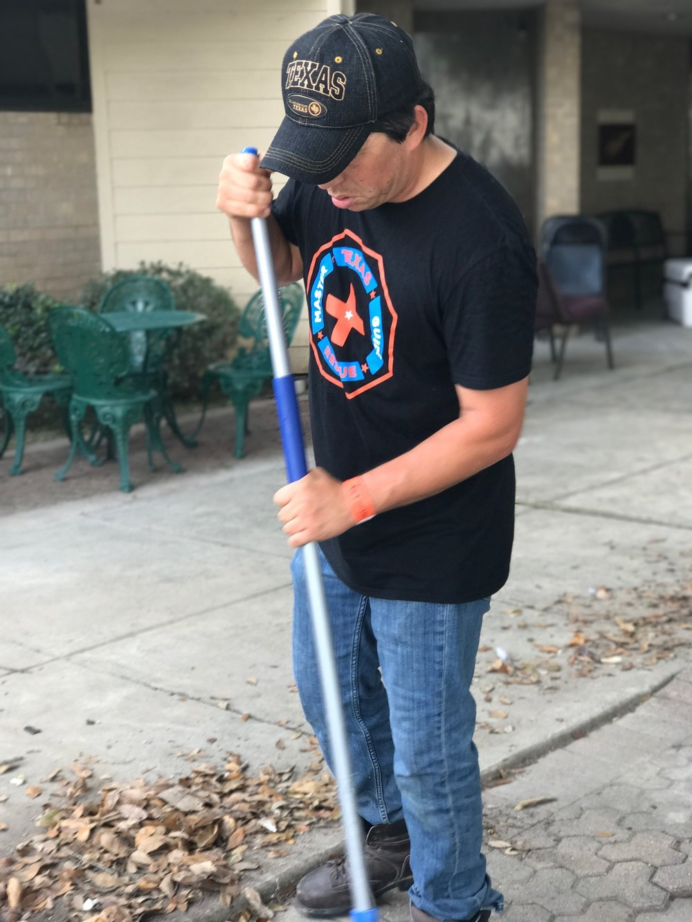 Volunteer Steven Trujillo making a difference. In small but tangible ways, each individual volunteer helped local residents and the local church school get back to business again.