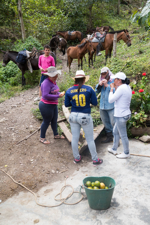 Midway shelter between the house and farm. The Bolanos family (pictured) offered our group citrus from their farm.