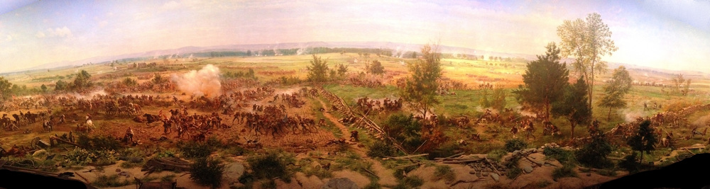 """Gettysburg Cyclorama"" made in  1883 by the French artist  Paul Philippoteaux  depicting "" Pickett's Charge "". One of the paintings that inspire me for making the visuals and game mechanics of Ultimate General: Gettysburg."