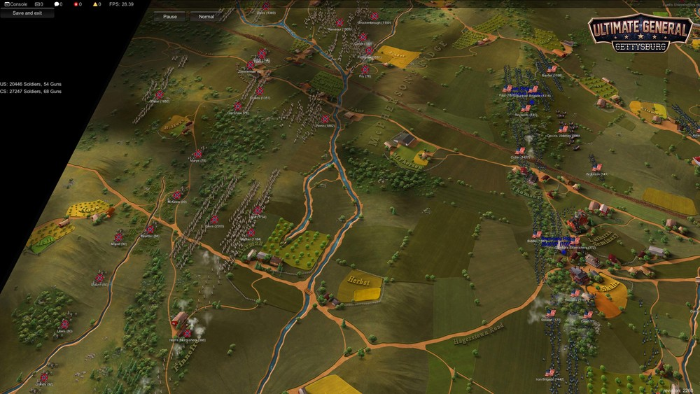 Union defends the ridges northwest of Gettysburg.   Disclaimer:  Visuals not final. Picture taken from early Development build with basic UI.