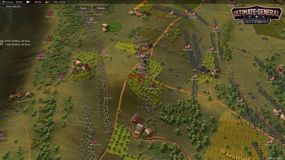 The two armies fight for the control of Peach Orchard.  Disclaimer:  Visuals not final. Picture taken from early Development build with basic UI.