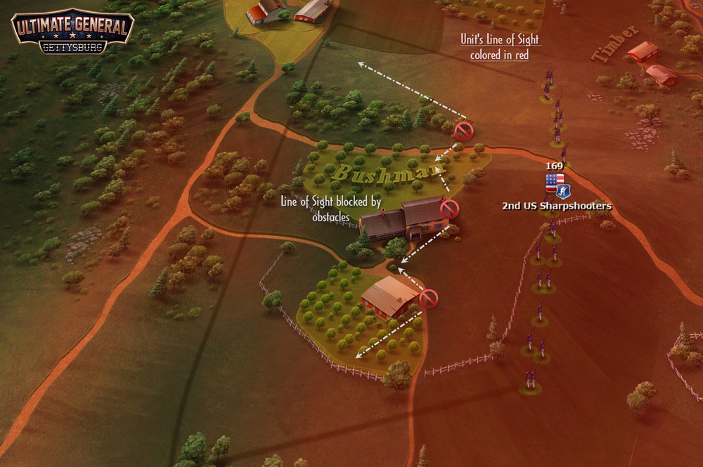 Another example of how LoS works in Ultimate General: Gettysburg. If you want to see the LoS of a selected unit, you just use a keyboard shortcut, long mouse button press or finger gesture, depending on platform and its LoS is displayed in red for a short time, fading out gradually.