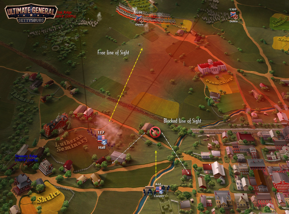 """You must place artillery to strategic positions that provide continuous line of fire. In this image, the artillery unit """"Hall"""" is protected by nearby houses from enemy cannon fire while it can shoot directly in front for a decent range."""