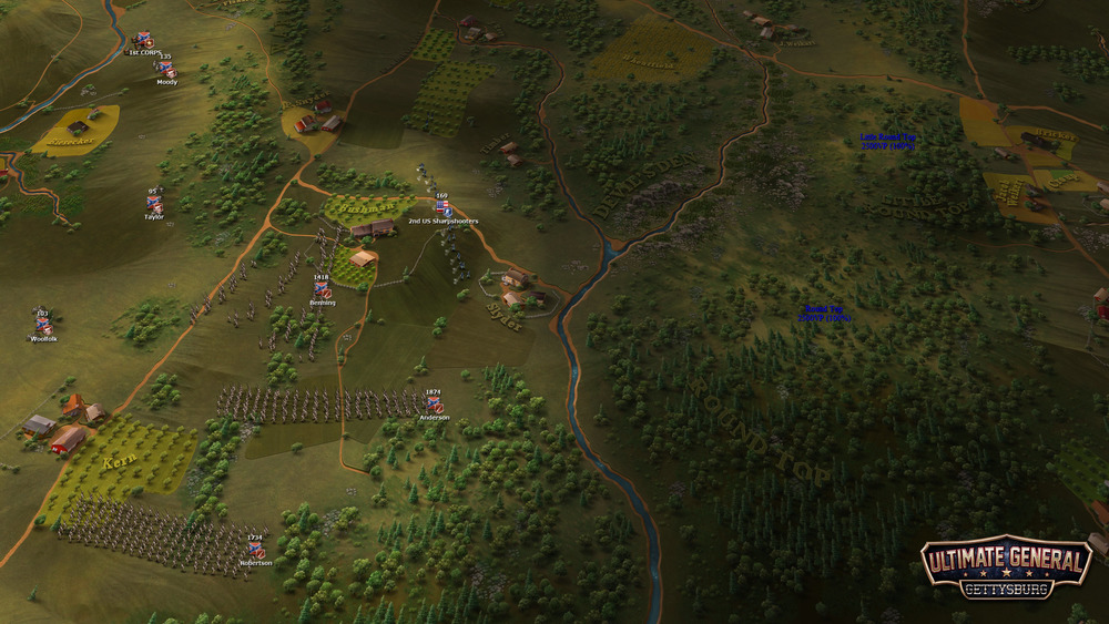 Gradually from the fog of war appear AI Union sharpshooters that attempt to delay the advance of Hood's division. The battle of Devil's Den has just begun!