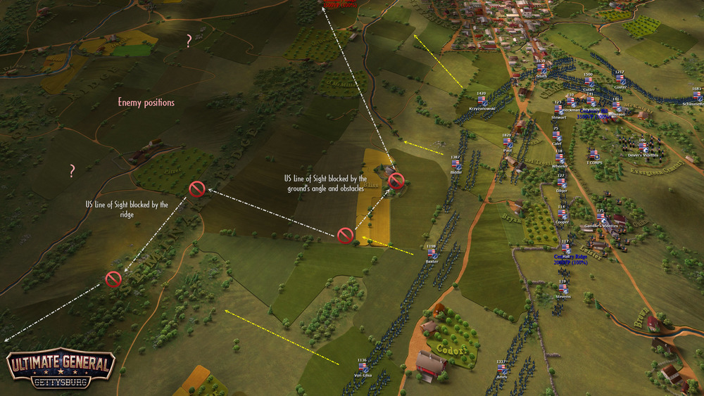 We see now the visibility of the Union army as player in the same battle.
