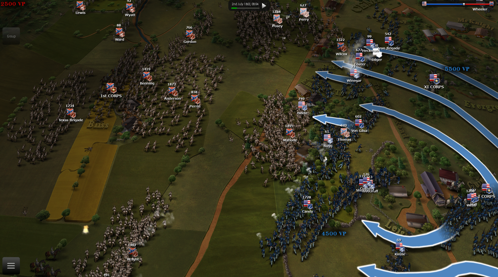 Risky CSA AI general decides to quickly charge with all his infantry the union center, early in the morning of 2nd july, before the player's reinforcements arrive