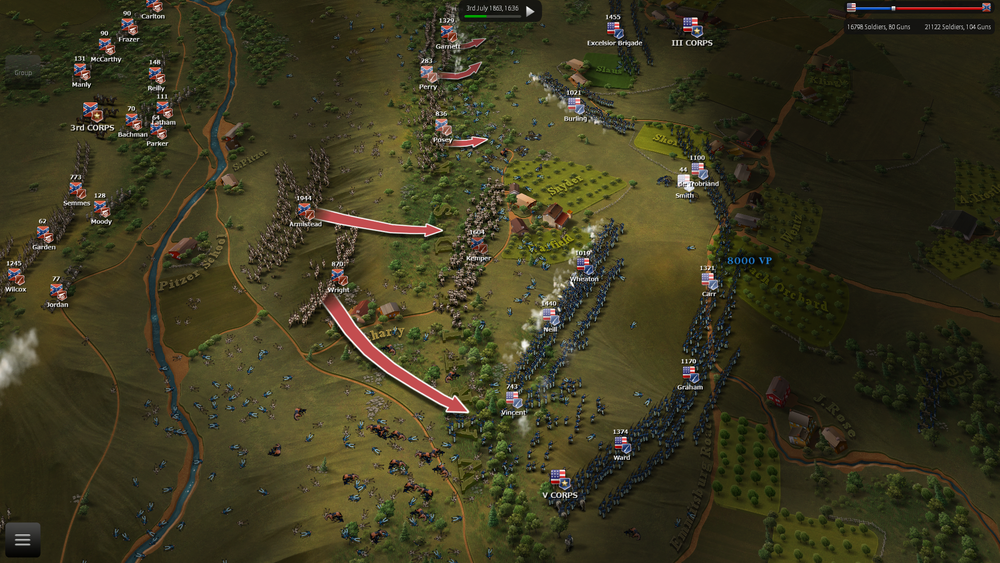 "After a thunderous charge, the confederate player takes ground but the AI is now very stubborn in defense, making lines to protect objectives, like the ""defensive"" AI personality of the image."