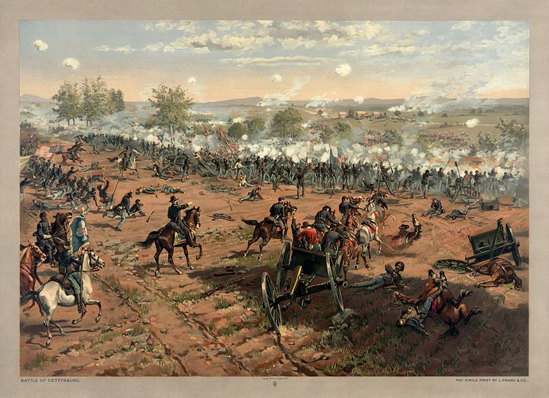 """Hancock at Gettysburg"" by Thure de Thulstrup, showing Pickett's Charge. Restoration by Adam Cuerden."