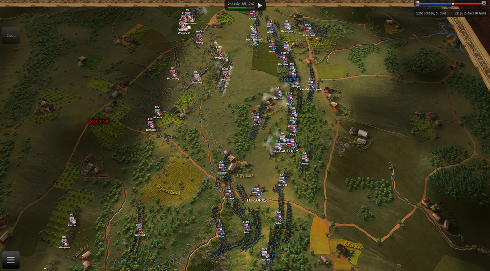 ...CONTINUIING THE ATTACK, THE DETERMINED AI KEEPS SEVERAL OF ITS UNITS at safe distance WHILE IT CONCENTRATES AT cEMETERY RIDGE.