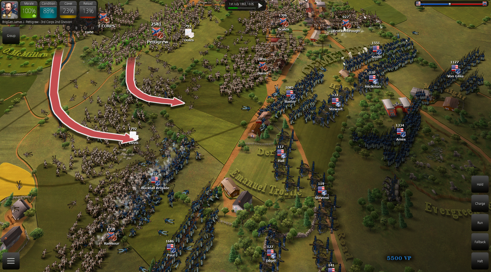 "ASSAULTING FORTIFIED POSITIONS SUCH AS CEMETERY HILL is STILL VERY RISKY AND CAN LEAD TO ENORMOUS CASUALTIES, ESPECIALLY IF THE ATTACK IS EXECUTED VS A WELL PREPARED ""CUNNING"" AI PERSONALITY."