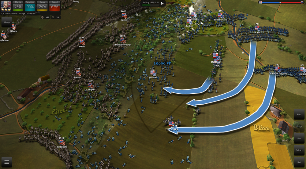 After gaining territorial superiority the AI will decisively try to advance with well timed charges