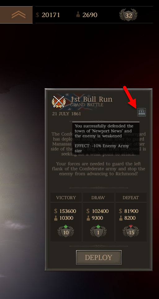 The new icon describes the effect of your previous battles
