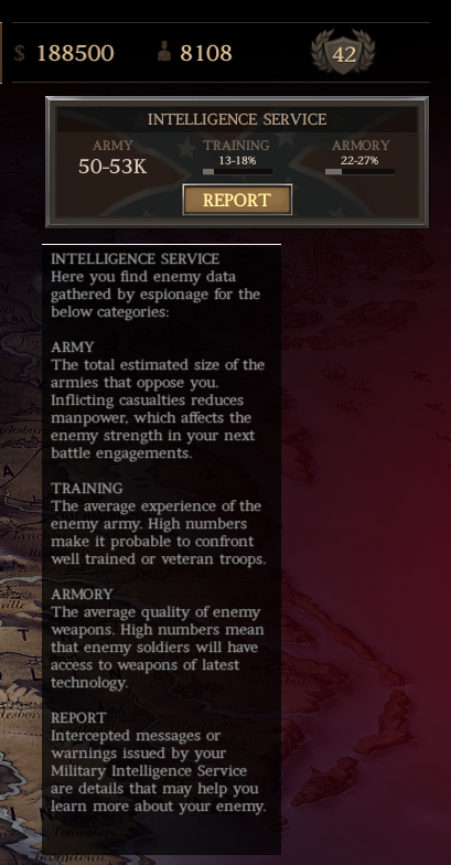 "*Disclaimer: Image shows beta content*The new ""Intelligence Service"" Tab appears on the upper right corner of campaign map and reveals info about your AI opponent"